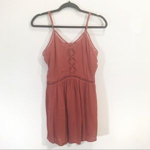 Amuse Society Burnt Orange Boho Mini Dress Small